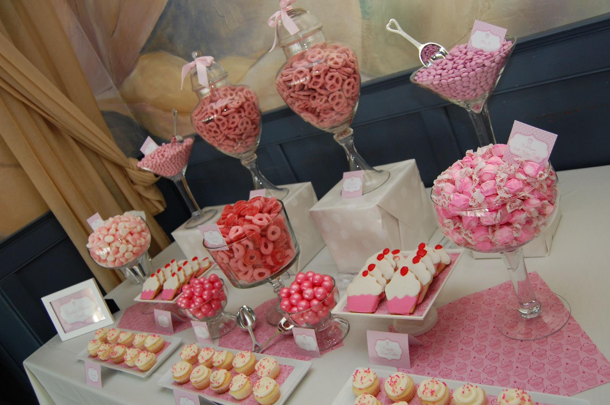 Cupcake themed bridal shower candy buffet blog for Wedding shower cupcakes